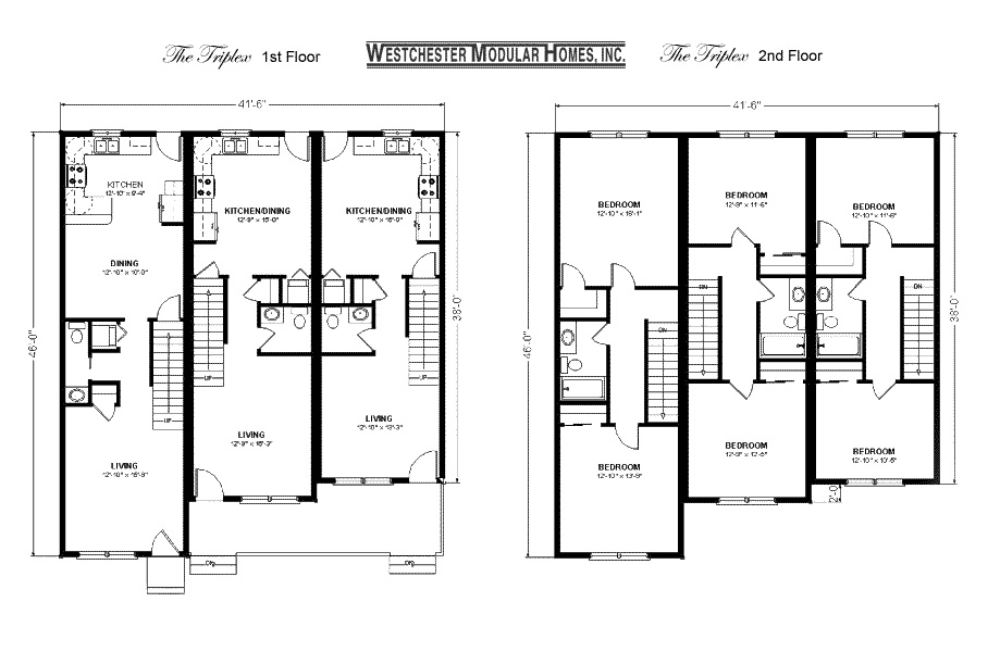Triplex House Plans Floor Plans